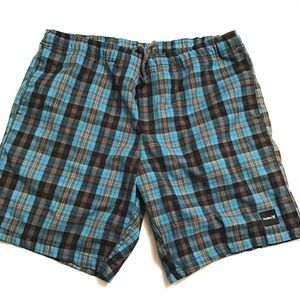 Hurley Turquoise Plaid.Drawstring Shorts